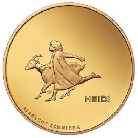 """50 CHF Schweiz """"Heidi"""" 2001 Gold PP"""