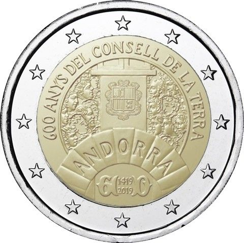 2 Euro Andorra 600 Jahre Generalrat der Täler 2019 CN ST