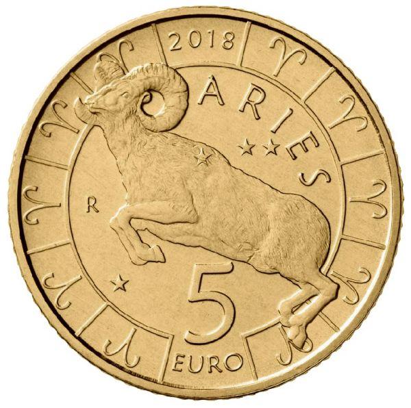 """5 Euro San Marino """"Tierkreiszeichen - Widder"""" 2018 Br/CN St"""