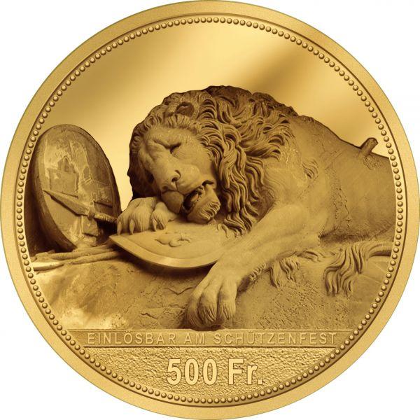 500 CHF Schützentaler Luzern 2021 Gold PP