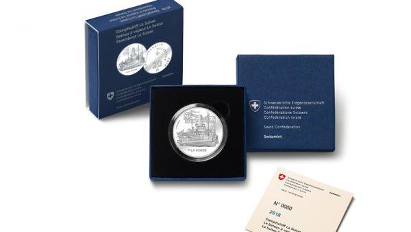 """20 CHF Schweiz """"Dampfschiff - La Suisse"""" 2018 Silber PP"""