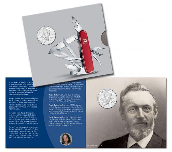 "20 CHF Schweiz ""Swiss Army Knife"" im Folder 2018 Silber St"