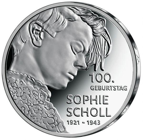 20 Euro DE 100. Geburtstag Sophie Scholl 2021 Silber PP -D-