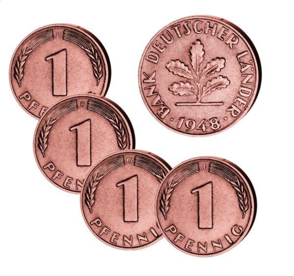 4x 1 Pfennig Deutschland 1948 sehr schön D, F, G, J
