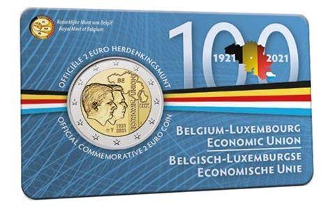2 Euro Belgien 100 J. Wirtschaftsunion Luxemburg 2021 CN St