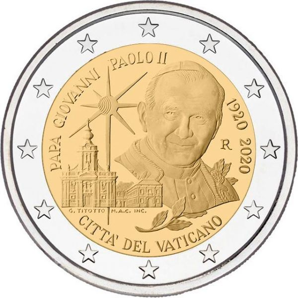 2 Euro Vatikan 100 Geb. Papst Johannes Paul II. 2020 CN St