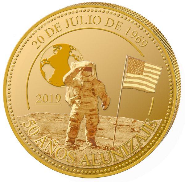 """50 Cordobas Nicaragua """"Mondlandung - Apollo 11"""" 2019 Gold PP"""