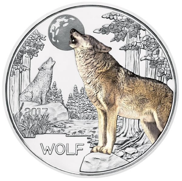 """3 € Österreich """"Tiertaler - Wolf"""" 2017 Buntmetall hgh"""