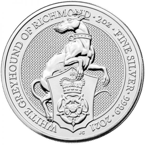 5 Pfund GB Queen's Beasts - Greyhound 2021 Silber St