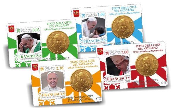 4x50 Ct. Vatikan Coincard-Set 2016 CN bfr #10-13
