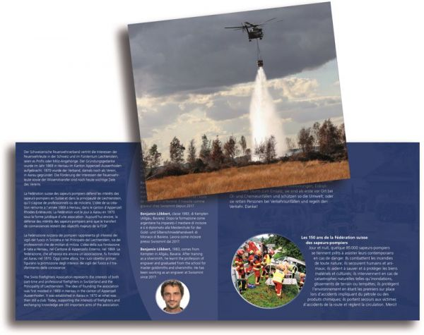 20 CHF Schweiz 150 J. Feuerwehrverband im Folder 2020 Silber St