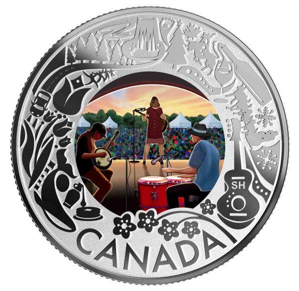"""3 $ Kanada """"Kan. Feste - Folk Music"""" 2019 Silber PP"""