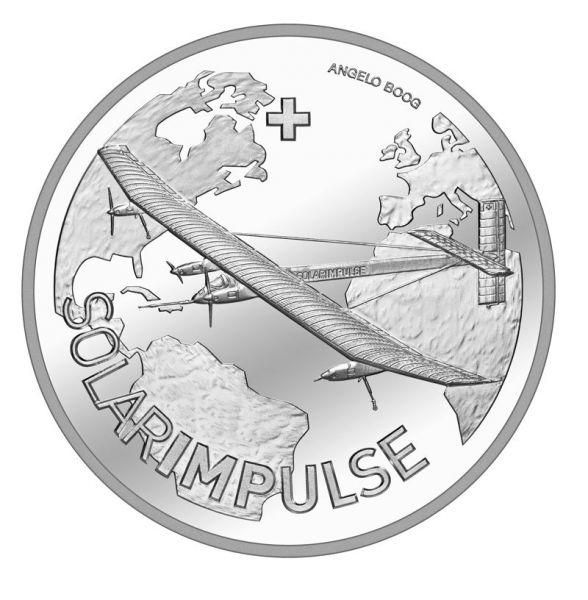 "20 CHF Schweiz ""Solar Impulse"" 2015 Silber St"