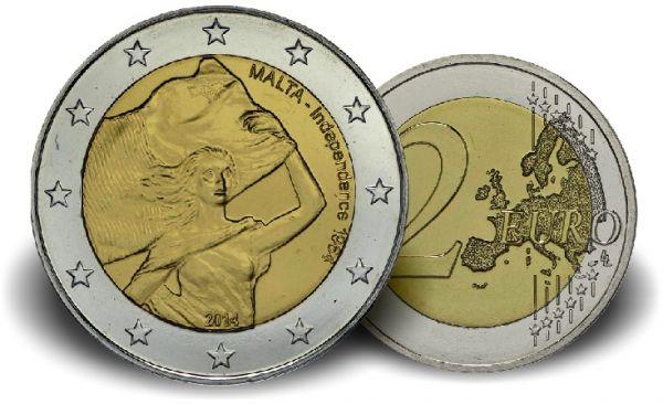 """2 € Malta """"50 Jahre Unabhängigkeit"""" 2014 CN vz"""