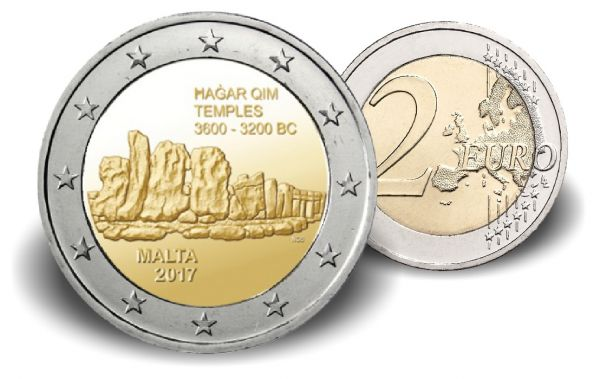 """2 € Malta """"Hagar Qim Tempelanlage"""" 2017 CN bfr"""
