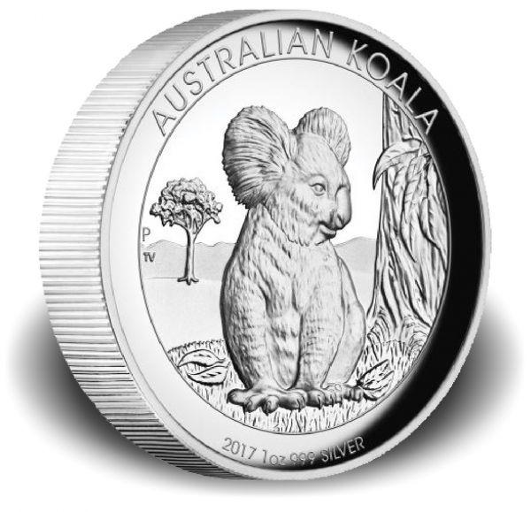 """1 $ Australien """"Koala"""" 2017 1oz Ag PP -Highrelief-"""