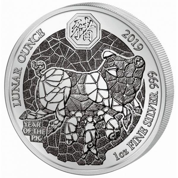 """50 RWF Ruanda """"Lunar Schwein"""" 2019 1oz Silber St"""