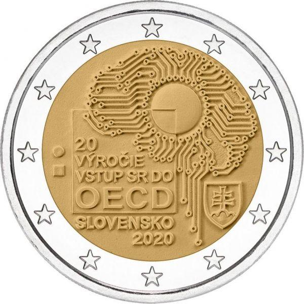 2 Euro Slowakei 20. Jahrestag des Beitritts zur OECD 2020 CN bfr
