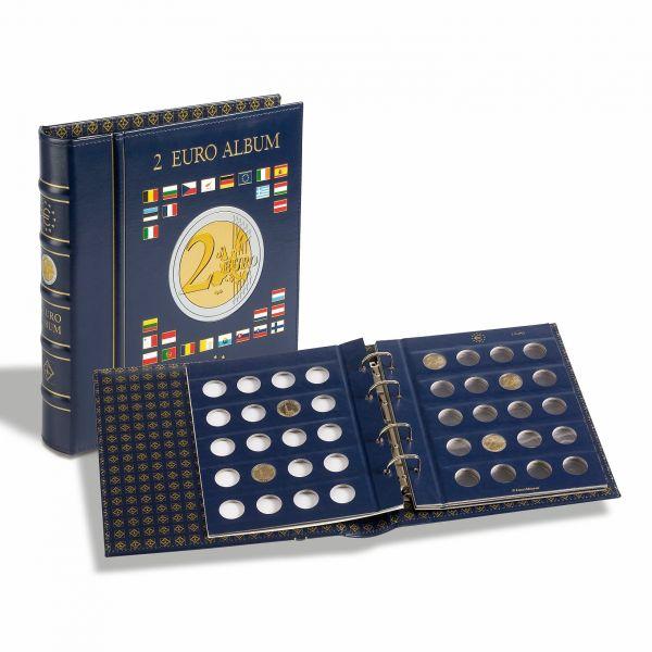 Münzalbum VISTA, für 2-Euro-Münzen, inkl. 4 VISTA, Münzblättern, inkl. Schutzkassette,blau