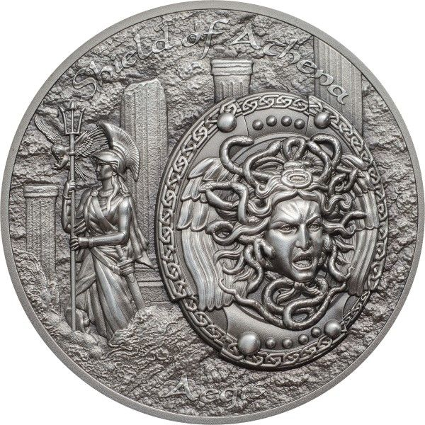 "10 $ Cook Islands ""Shield of Athena - Aegis"" 2018 Silber AF"