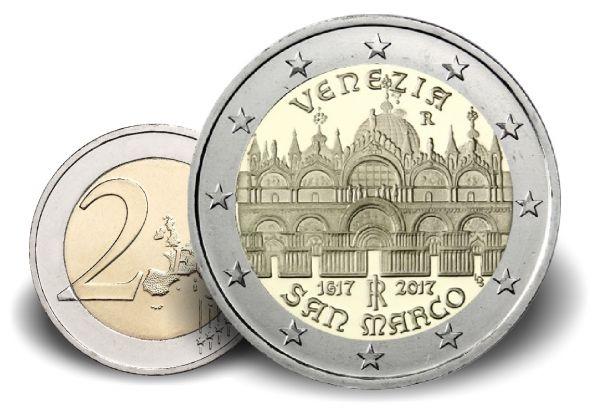 """2 € Italien """"400 J. Basilika San Marco in Venedig"""" 2017 CN vz"""
