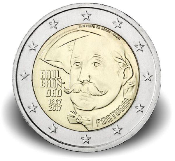 "2 € Portugal ""150. Geburtstag Raúl Brandao"" 2017 Cn bfr"
