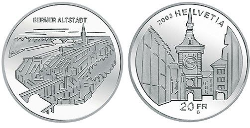 "20 CHF Schweiz ""Berner Altstadt"" 2003 Silber St"