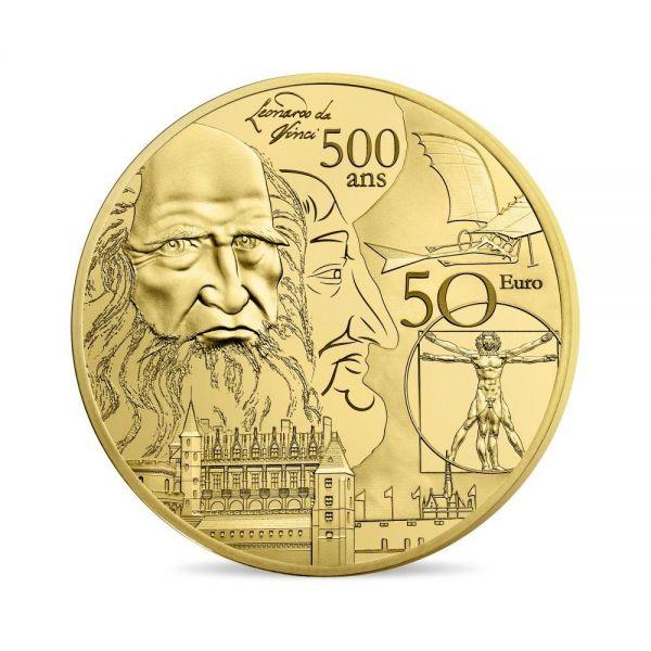 """50 € Frankreich """"Renaissance - Da Vinci"""" 2019 Gold PP"""