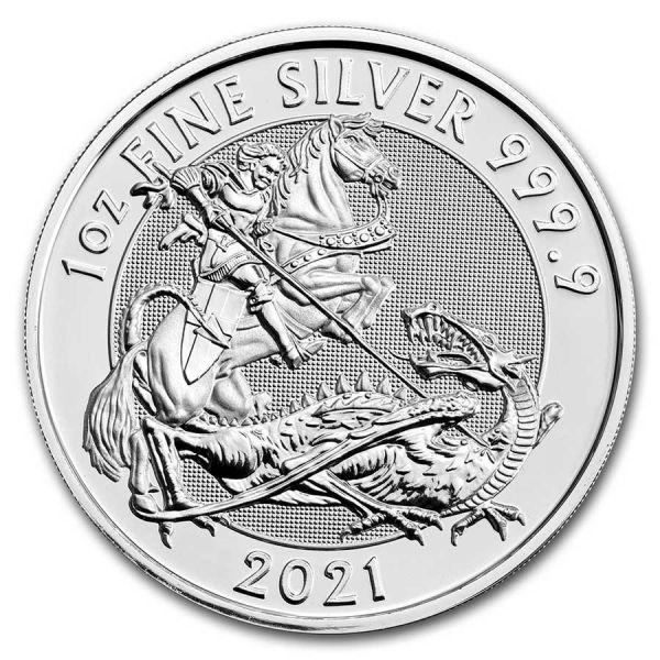 2 Pfund GB Valiant St. George & der Drache 2021 Silber St