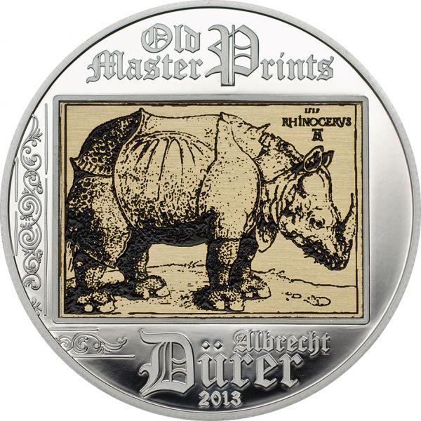 "5 $ Cook Island ""Albrecht Dürer - Rhinoceros"" 2013 Ag PP"
