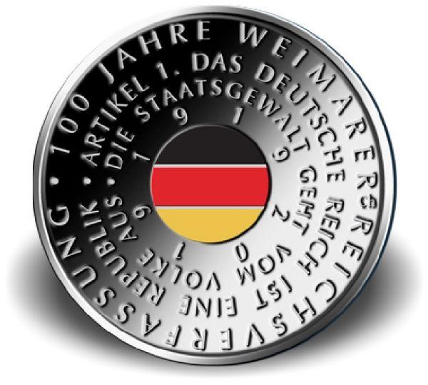 """20 € DE """"100 J. Weimarer Reichsverfassung"""" 2019 Silber PP -A-"""