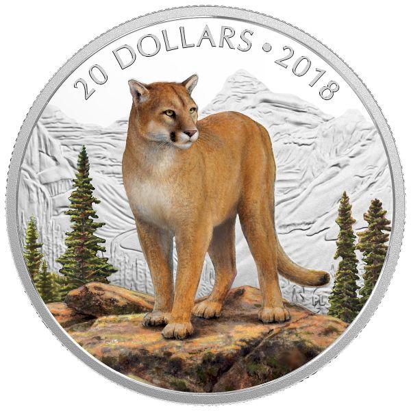 """20 $ Kanada """"Maj. Tiere - Der Mutige Puma"""" 2018 Silber PP"""