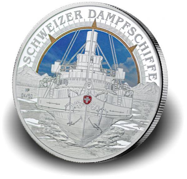 5 Unzen Schweizer Dampfschiffe 2019 Ag PL -teilvergoldet/-koloriert-
