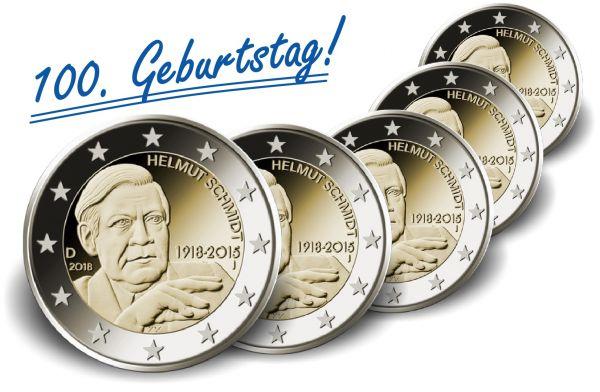 """5x2 € Deutschland """"Helmut Schmidt"""" 2018 CN bfr A-J"""