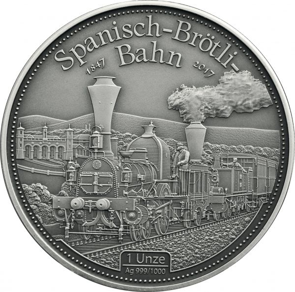 1 Unze Spanisch-Brötli-Bahn 2017 Ag Antik Finish