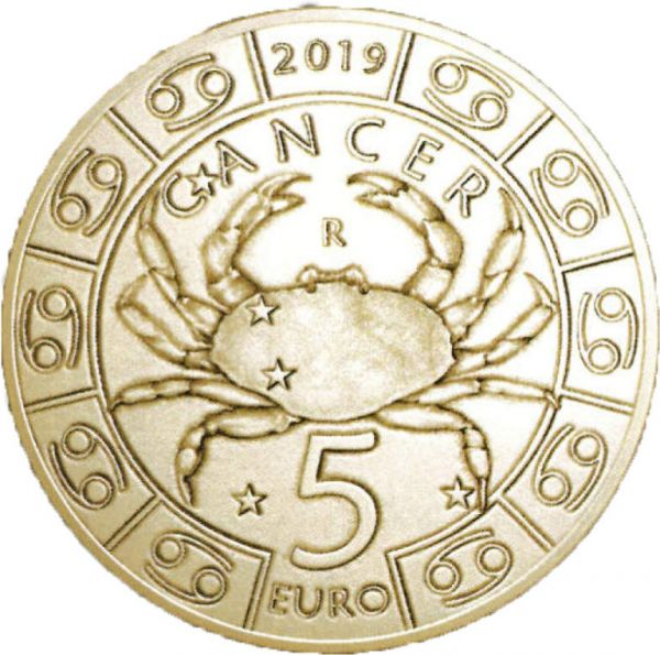 """5 Euro San Marino """"Tierkreiszeichen - Krebs"""" 2019 Br/CN St"""