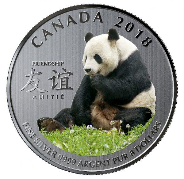 """8 $ Kanada """"Der friedliche Panda"""" 2018 Silber St"""