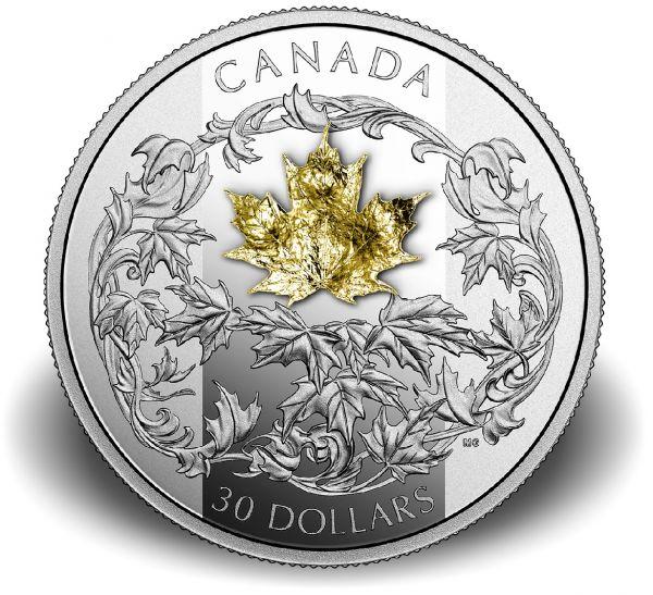 """30 $ Kanada """"Maple Leaf mit goldenem Ahorn"""" 2018 Ag PP"""