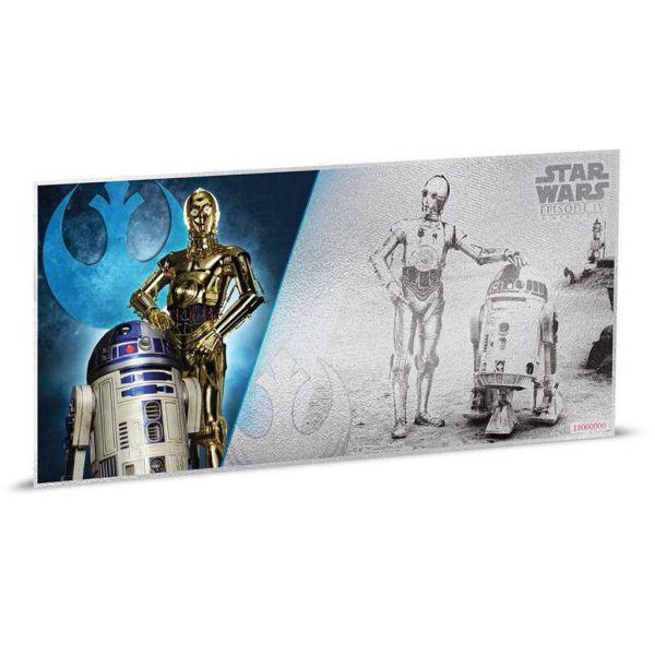 "1 Dollar Niue ""Star Wars - R2-D2 & C-3PO"" Banknote 2018 Ag St"