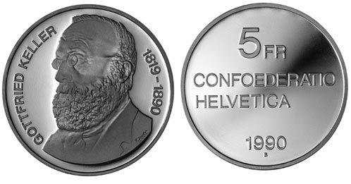 5 CHF Gottfried Keller 1990 CuNi PP