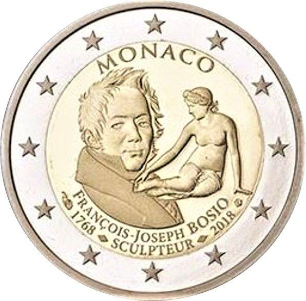 """2 € Monaco """"250. Geb. Francois Joseph Bosio"""" 2018 CN PP"""