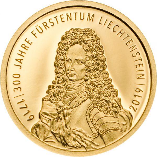 """10 Fr Liechtenstein """"300 Jahre Liechtenstein"""" 2019 Gold PP"""