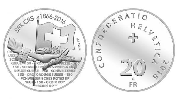 """20 CHF Schweiz """"150 Jahre Schweizerisches Rotes Kreuz"""" 2016 Ag St"""