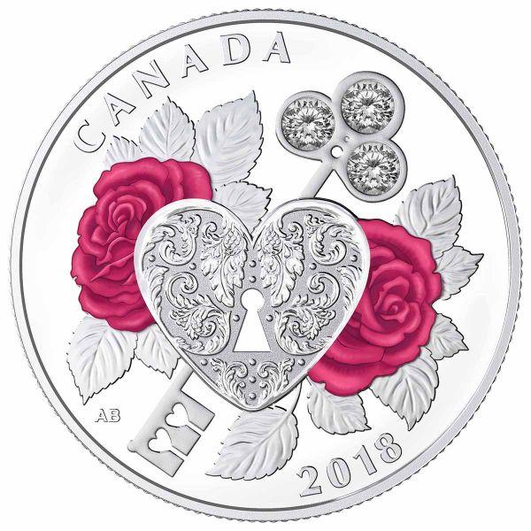"""3 $ Kanada """"Fest der Liebe"""" 2018 Ag PP SWAROVSKI"""