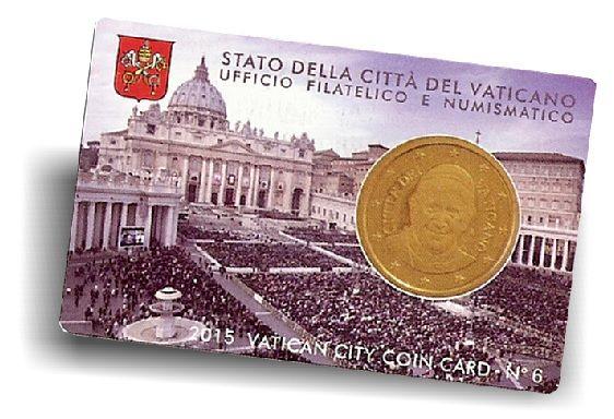 "50 Ct. Vatikan Coincard ""Petersplatz"" #6 2015 CN vz"