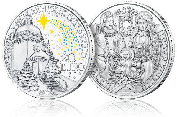 """20 € Österreich """"Stille Nacht! Heilige Nacht!"""" 2018 Silber PP"""