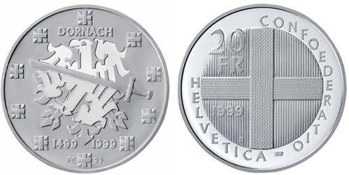 20 CHF Schlacht bei Dornach 1999 Ag St