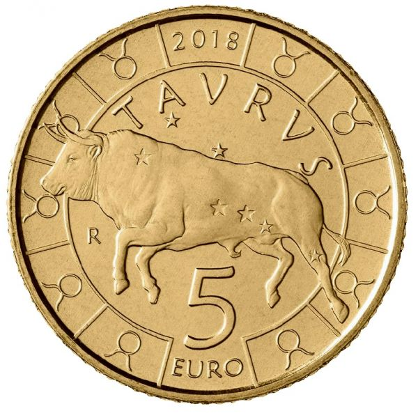 """5 Euro San Marino """"Tierkreiszeichen - Stier"""" 2018 Br/CN St"""