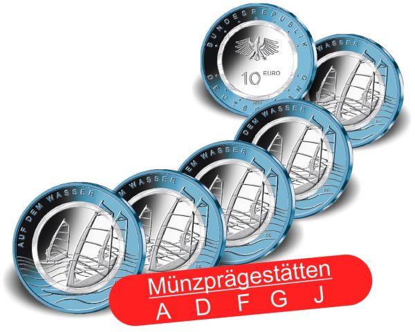 5x 10 Euro Deutschland Auf dem Wasser 2021 CN PP A-J