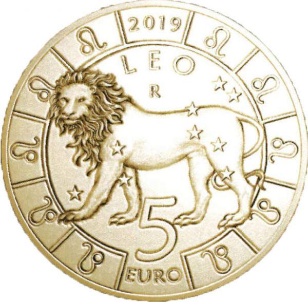 """5 Euro San Marino """"Tierkreiszeichen - Löwe"""" 2019 Br/CN St"""